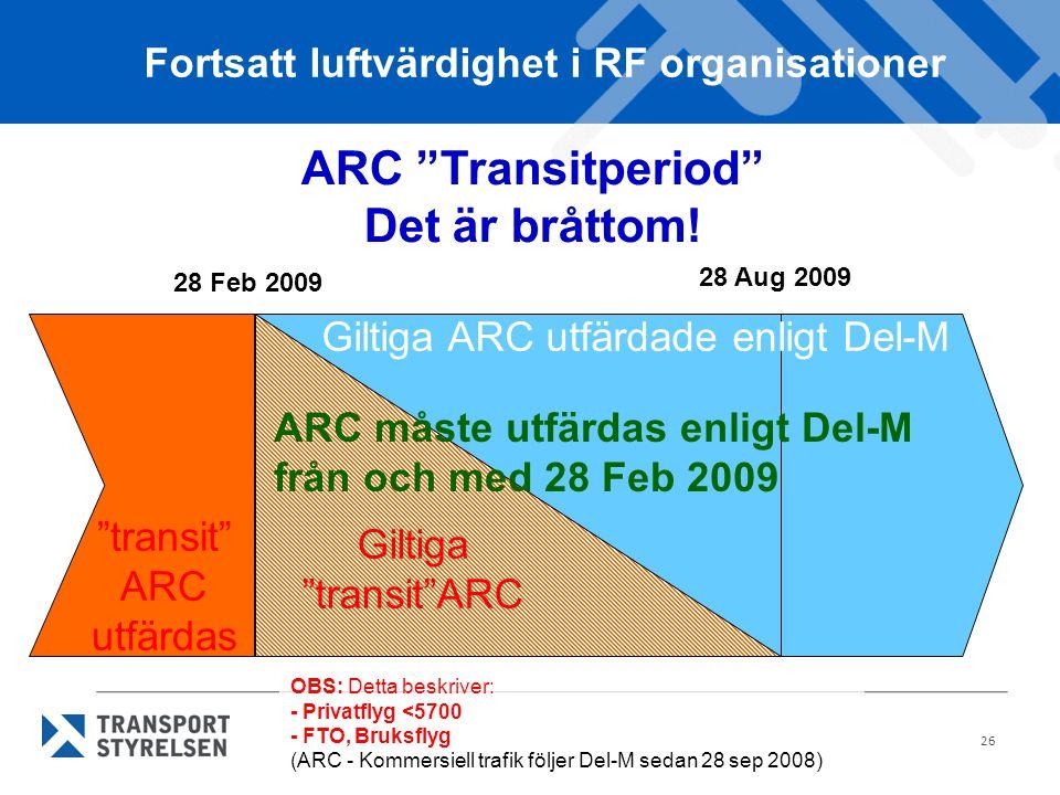 26 ARC Transitperiod Det är bråttom.