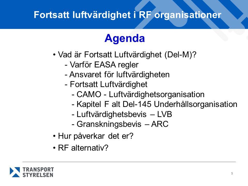 5 Agenda Vad är Fortsatt Luftvärdighet (Del-M).