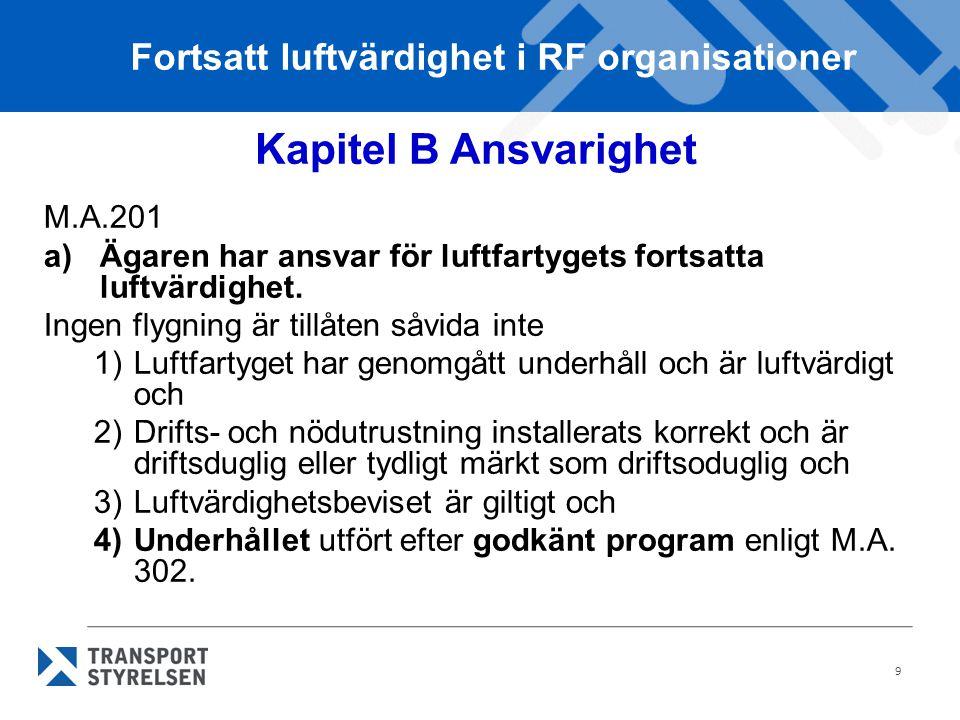 9 Kapitel B Ansvarighet M.A.201 a)Ägaren har ansvar för luftfartygets fortsatta luftvärdighet.