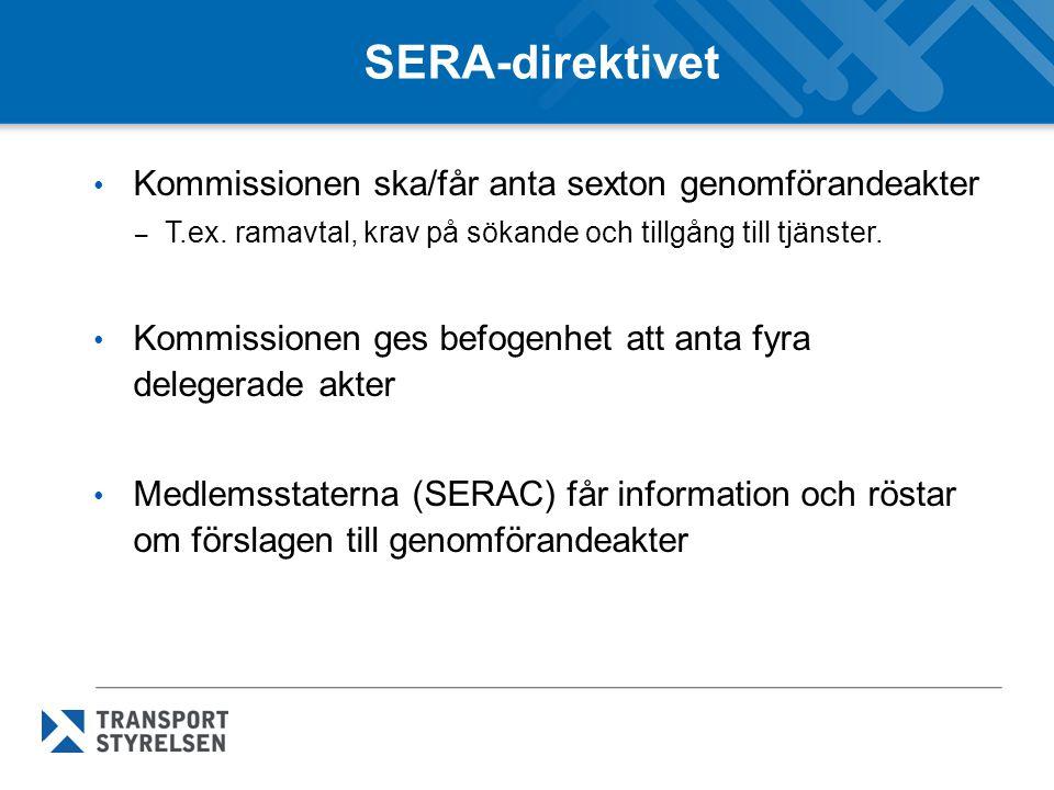 SERA-direktivet Kommissionen ska/får anta sexton genomförandeakter – T.ex. ramavtal, krav på sökande och tillgång till tjänster. Kommissionen ges befo