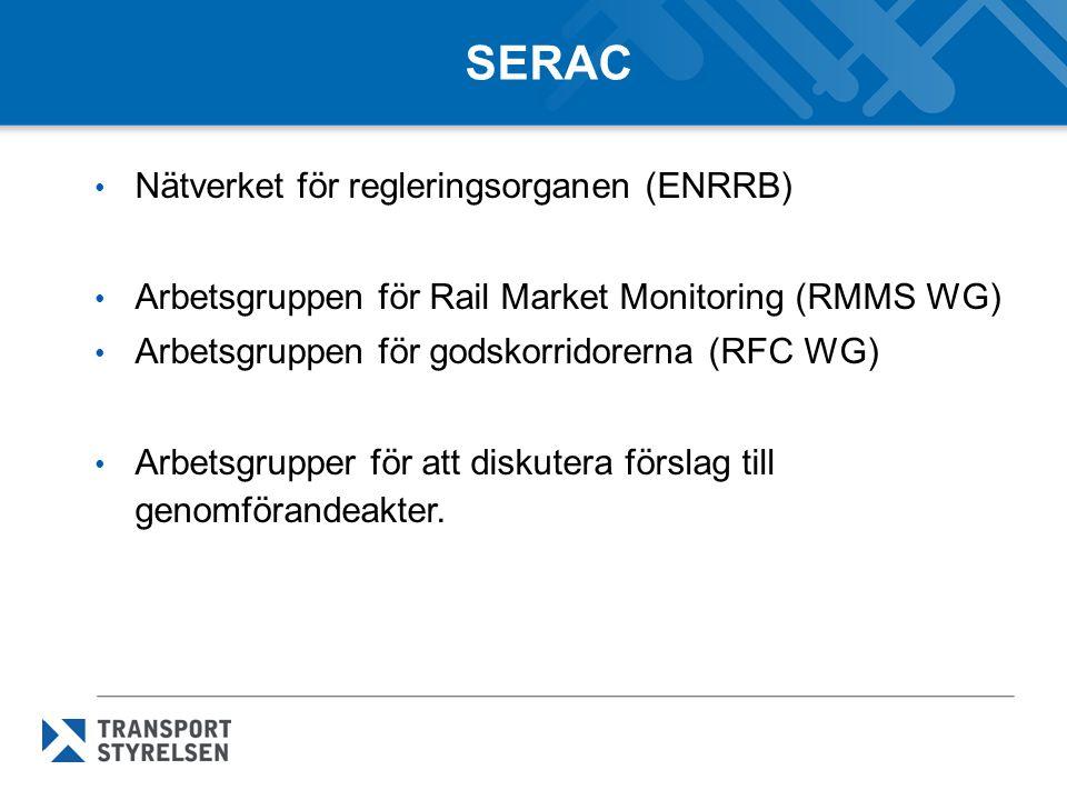 Behandlade frågor i november 2013 Möte den 5-6 november 2013 Förslag till arbetssätt för SERAC (modus operandi) Information om tidplanen för kommande reglering Presentation av kommande reglering – Krav på sökande av infrastrukturkapacitet (artikel 41.3) – Ramavtal för infrastrukturkapacitet (artikel 42.8) – Test av ekonomiskt jämvikt och huvudsakliga syftet med trafiken (artikel 11.4 och 10.4) – Licens för järnvägsföretag (artikel 17.5) Ingen omröstning vid mötet