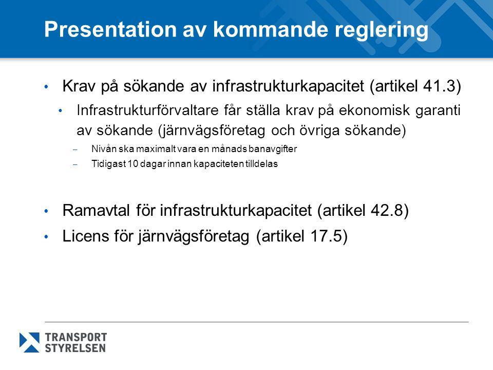 Presentation av kommande reglering Test av ekonomiskt jämvikt och huvudsakliga syftet med trafiken (artikel 11.4 och 10.4) Möjlighet att begränsa den kommersiella persontrafiken (internationella persontrafiken) med anledning av att den kan skada den offentliga stödda trafiken.