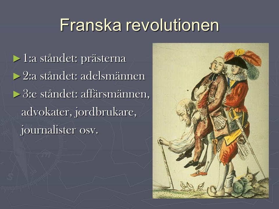 Franska revolutionen ► 1:a ståndet: prästerna ► 2:a ståndet: adelsmännen ► 3:e ståndet: affärsmännen, advokater, jordbrukare, advokater, jordbrukare, journalister osv.