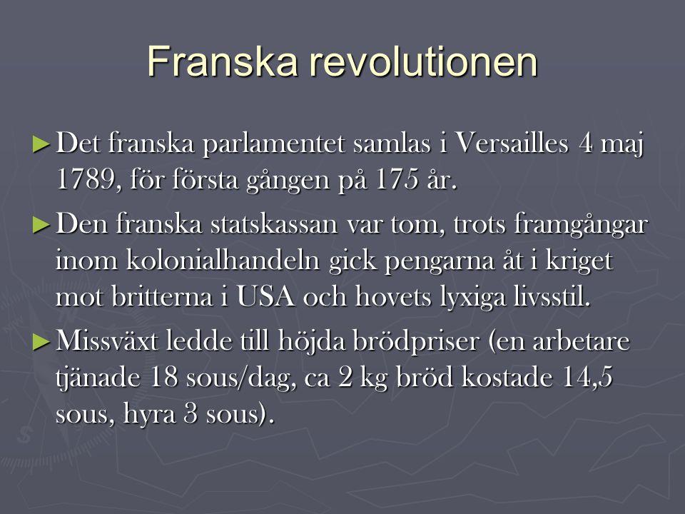 Franska revolutionen ► Det franska parlamentet samlas i Versailles 4 maj 1789, för första gången på 175 år.