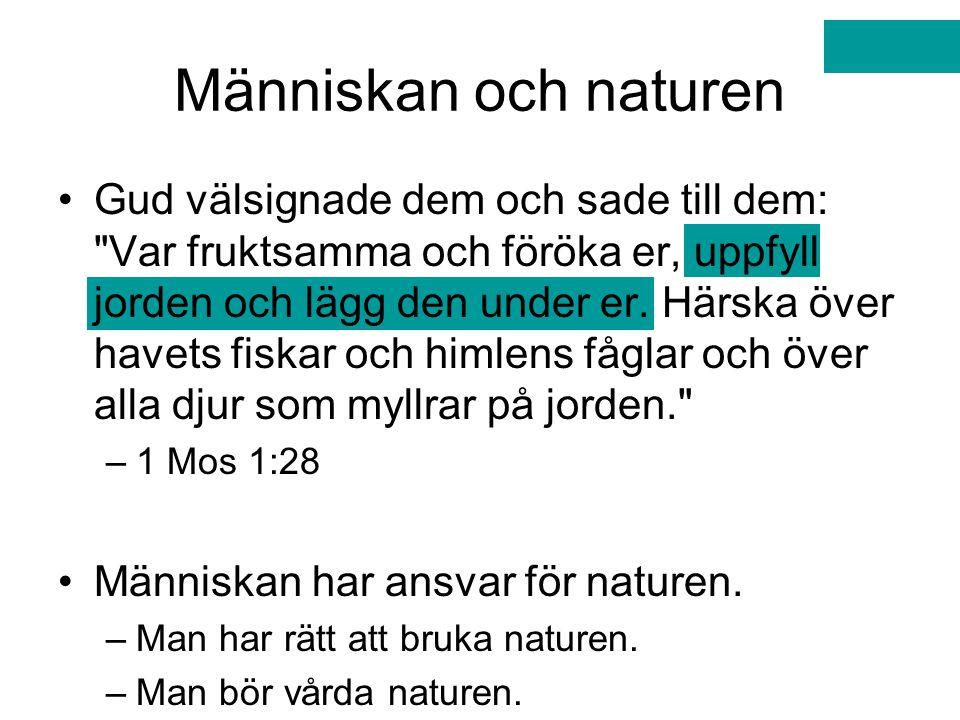 Människan och naturen Gud välsignade dem och sade till dem: