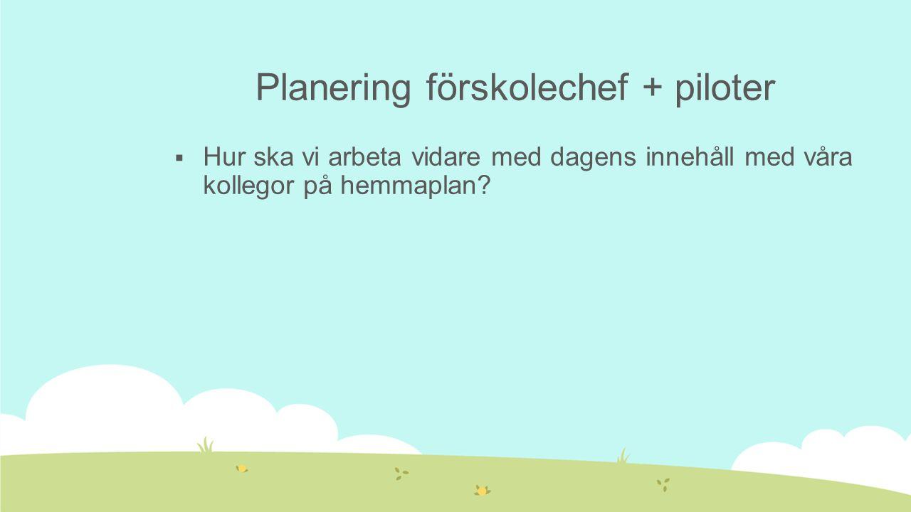 Planering förskolechef + piloter  Hur ska vi arbeta vidare med dagens innehåll med våra kollegor på hemmaplan?