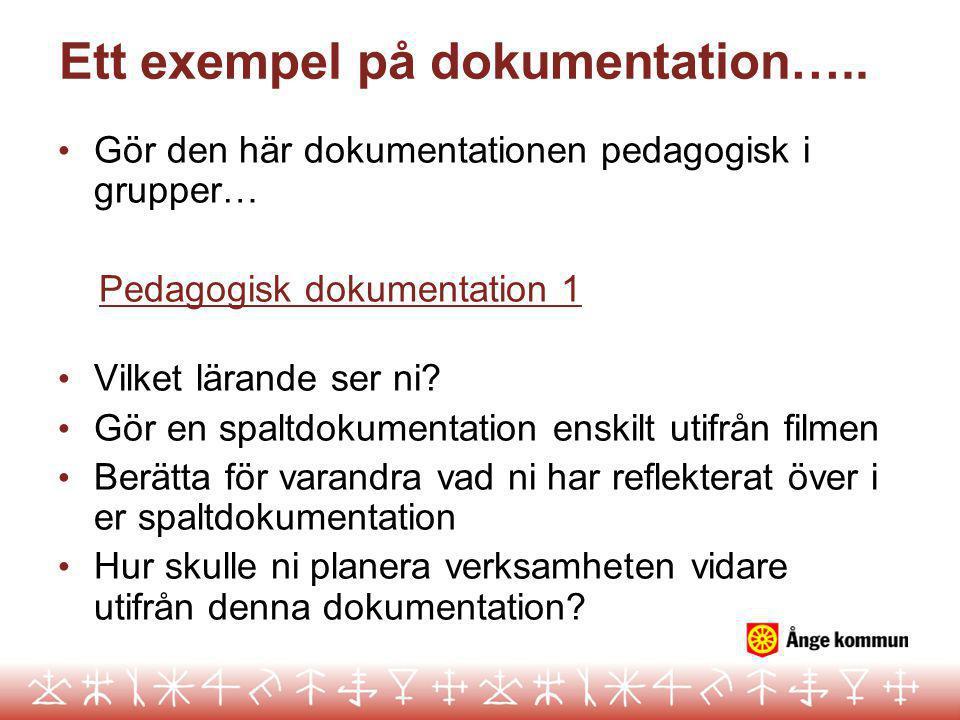 Ett exempel på dokumentation….. Gör den här dokumentationen pedagogisk i grupper… Pedagogisk dokumentation 1 Vilket lärande ser ni? Gör en spaltdokume