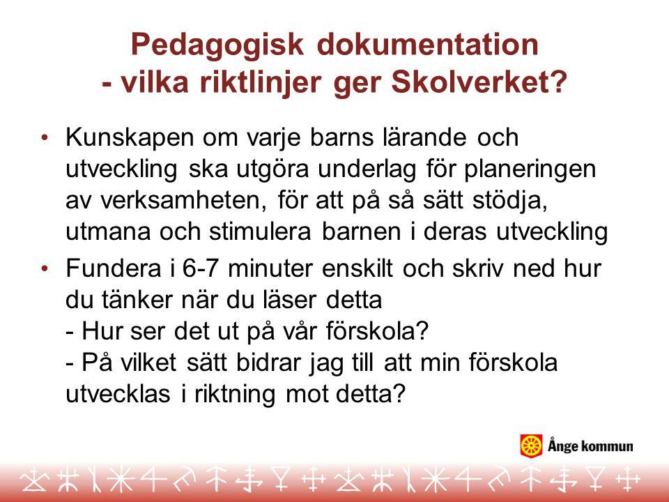 Pedagogisk dokumentation - vilka riktlinjer ger Skolverket? Kunskapen om varje barns lärande och utveckling ska utgöra underlag för planeringen av ver