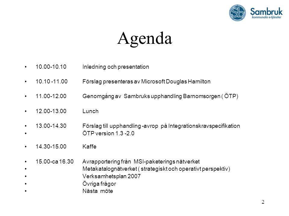 2 Agenda 10.00-10.10Inledning och presentation 10.10 -11.00Förslag presenteras av Microsoft Douglas Hamilton 11.00-12.00Genomgång av Sambruks upphandl