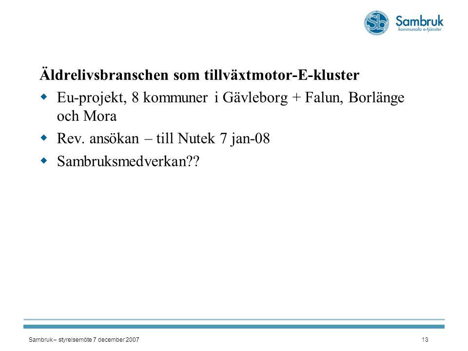 Sambruk – styrelsemöte 7 december 200713 Äldrelivsbranschen som tillväxtmotor-E-kluster  Eu-projekt, 8 kommuner i Gävleborg + Falun, Borlänge och Mor