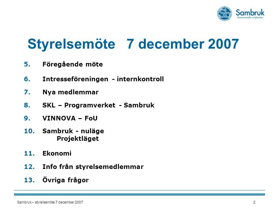 Sambruk – styrelsemöte 7 december 20072 Styrelsemöte 7 december 2007 5.Föregående möte 6.Intresseföreningen - internkontroll 7.Nya medlemmar 8.SKL – P