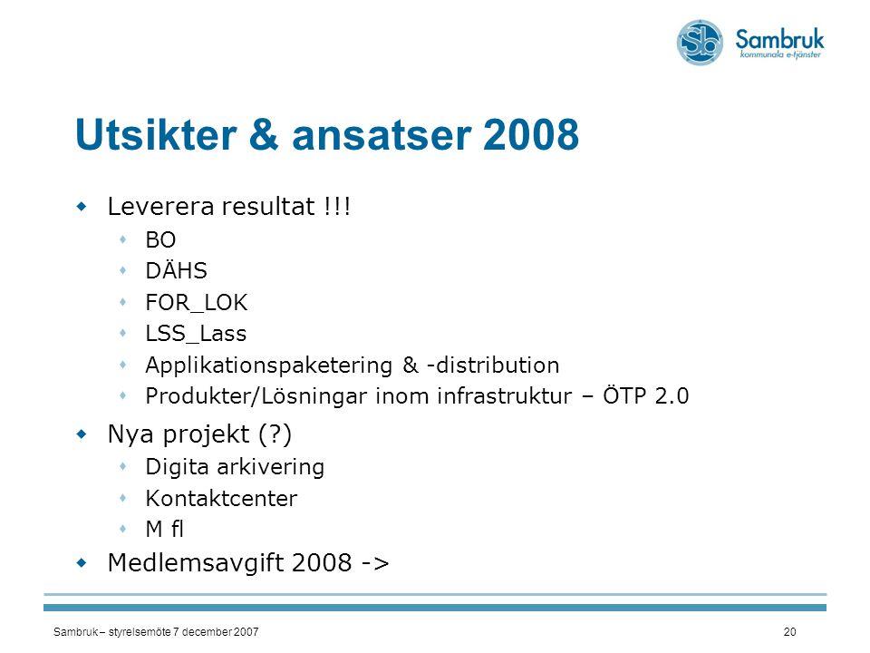 Sambruk – styrelsemöte 7 december 200720 Utsikter & ansatser 2008  Leverera resultat !!!  BO  DÄHS  FOR_LOK  LSS_Lass  Applikationspaketering &