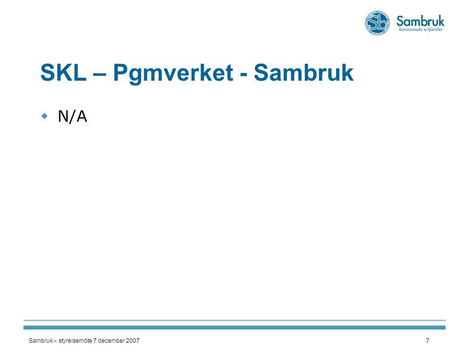 Sambruk – styrelsemöte 7 december 20078 VINNOVA - FoU  Fortsatt arbete inom främst LSS_LASS  Ekonomi – OK  Inledande diskussion kring fortsättning, efter 20080630