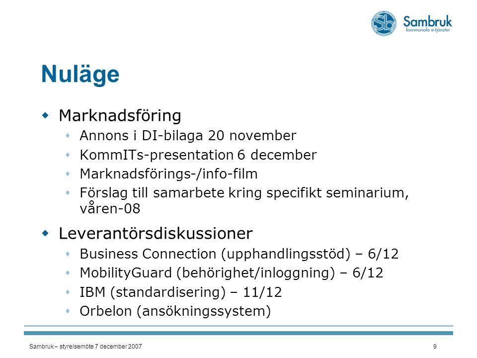 Sambruk – styrelsemöte 7 december 20079 Nuläge  Marknadsföring  Annons i DI-bilaga 20 november  KommITs-presentation 6 december  Marknadsförings-/