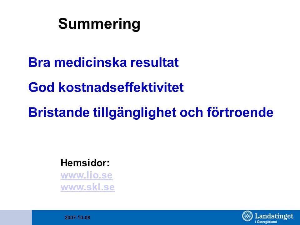 2007-10-08 Summering Bra medicinska resultat God kostnadseffektivitet Bristande tillgänglighet och förtroende Hemsidor: www.lio.se www.skl.se