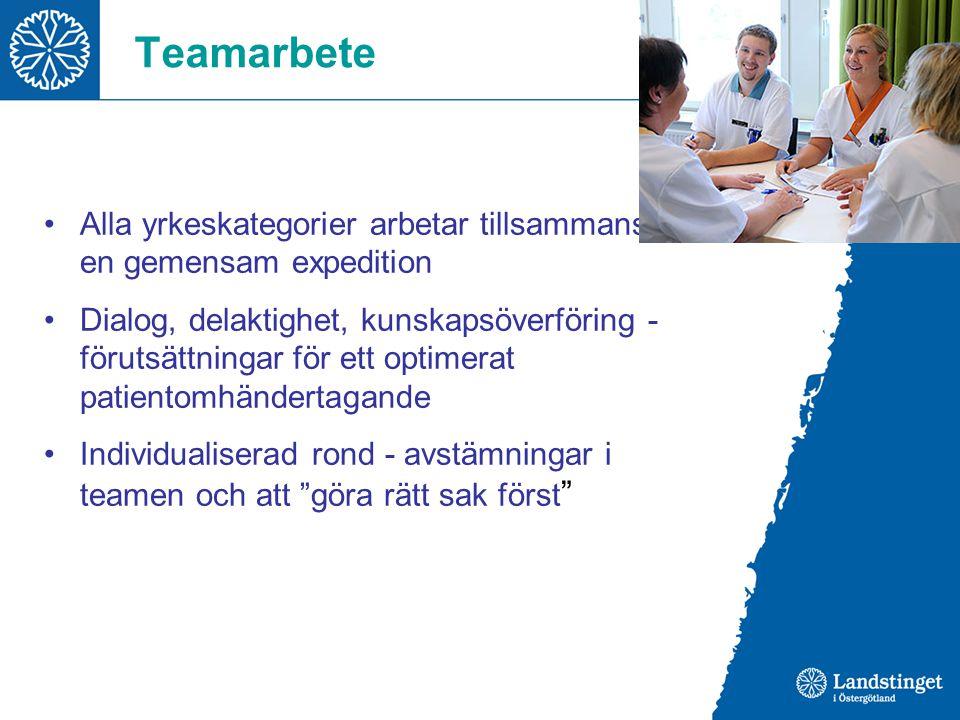 Teamarbete Alla yrkeskategorier arbetar tillsammans på en gemensam expedition Dialog, delaktighet, kunskapsöverföring - förutsättningar för ett optime