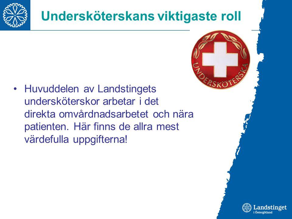 Undersköterskans viktigaste roll Huvuddelen av Landstingets undersköterskor arbetar i det direkta omvårdnadsarbetet och nära patienten. Här finns de a