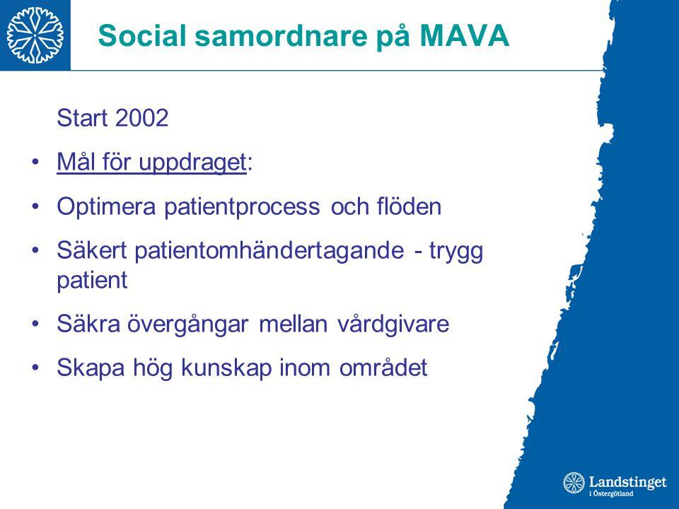 Social samordnare på MAVA Start 2002 Mål för uppdraget: Optimera patientprocess och flöden Säkert patientomhändertagande - trygg patient Säkra övergån
