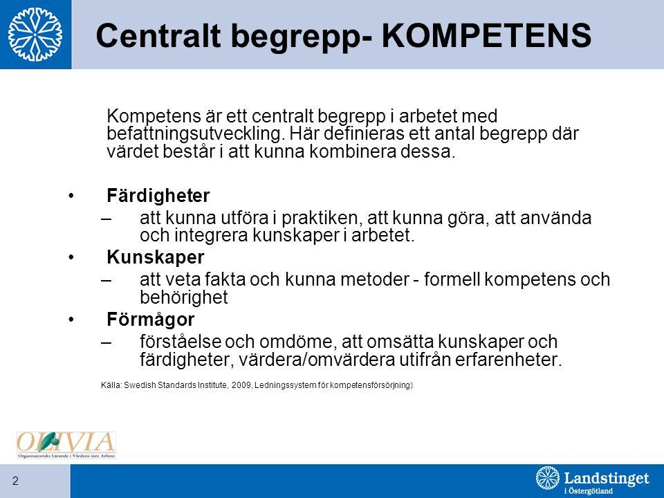 2 Centralt begrepp- KOMPETENS Kompetens är ett centralt begrepp i arbetet med befattningsutveckling. Här definieras ett antal begrepp där värdet bestå