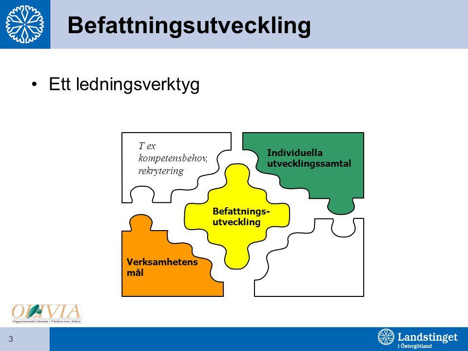 3 Befattningsutveckling Ett ledningsverktyg Verksamhetens mål Befattnings- utveckling Individuella utvecklingssamtal T ex kompetensbehov, rekrytering