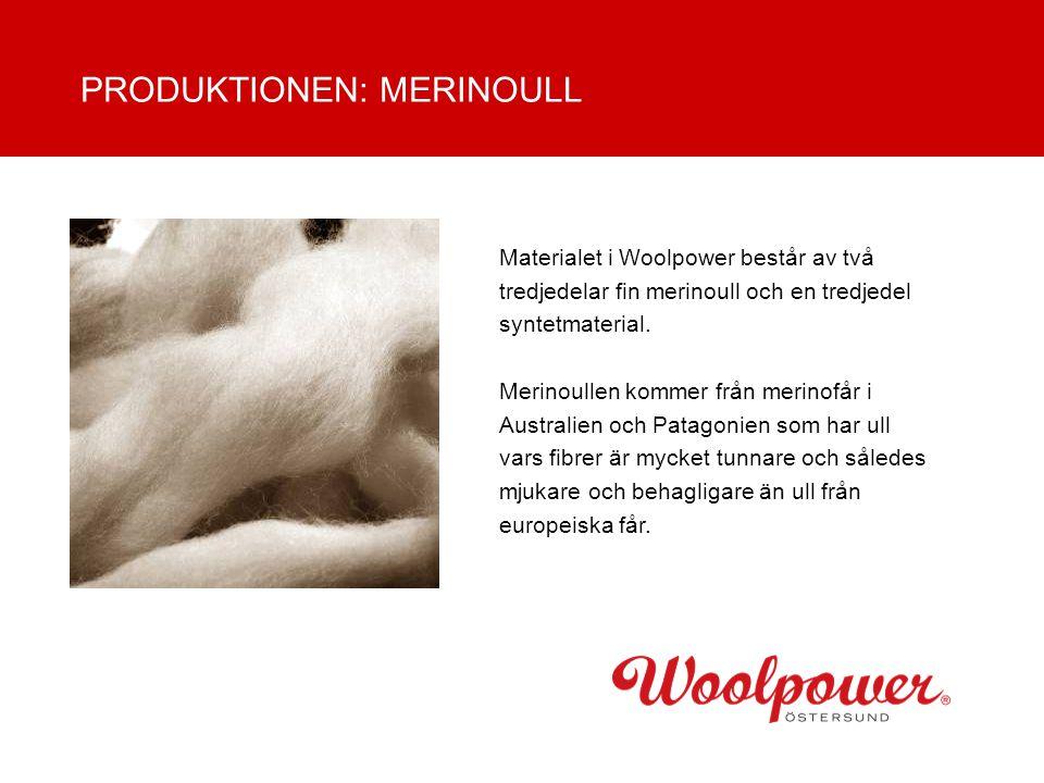 Materialet i Woolpower består av två tredjedelar fin merinoull och en tredjedel syntetmaterial. Merinoullen kommer från merinofår i Australien och Pat