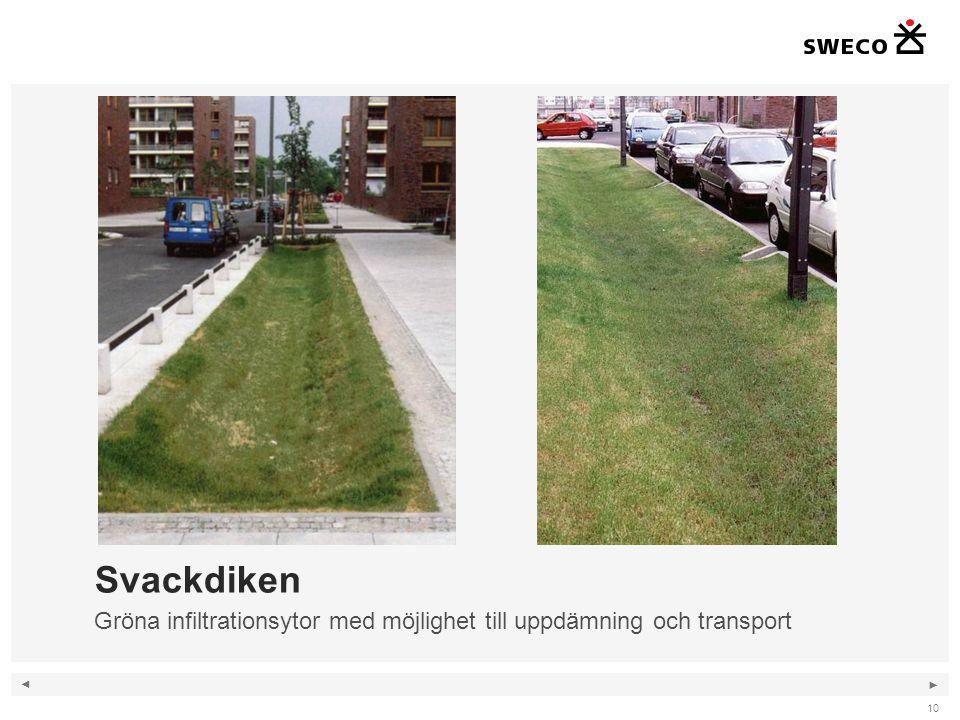 ◄ ► 10 Svackdiken Gröna infiltrationsytor med möjlighet till uppdämning och transport