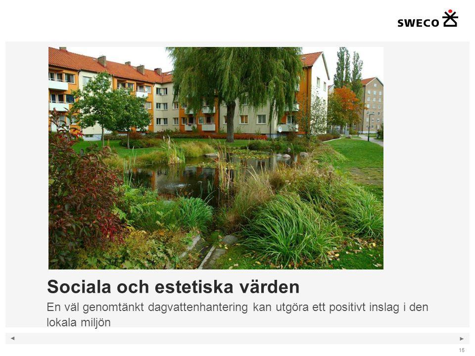 ◄ ► 15 Sociala och estetiska värden En väl genomtänkt dagvattenhantering kan utgöra ett positivt inslag i den lokala miljön