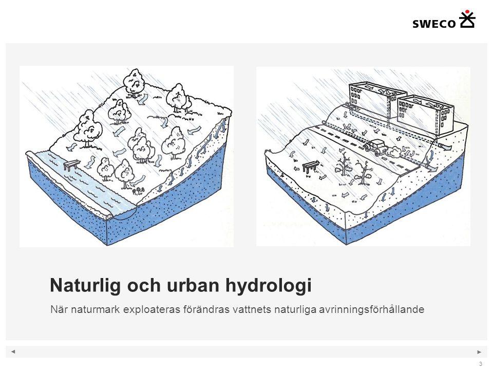 ◄ ► 3 Naturlig och urban hydrologi När naturmark exploateras förändras vattnets naturliga avrinningsförhållande