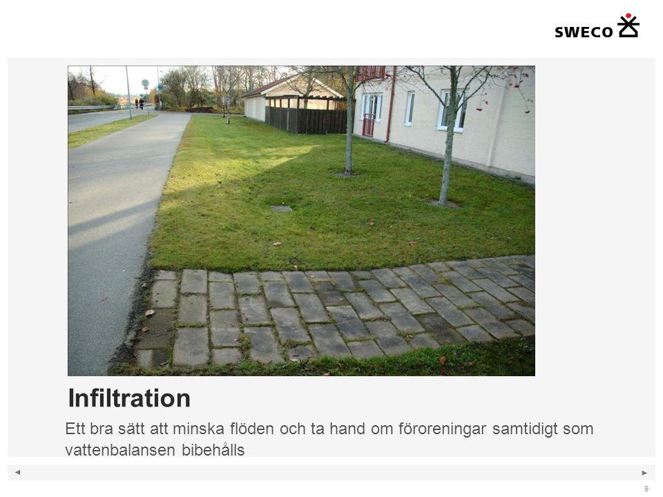 ◄ ► Infiltration 9 Ett bra sätt att minska flöden och ta hand om föroreningar samtidigt som vattenbalansen bibehålls