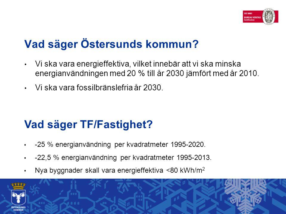 Vad säger Östersunds kommun? Vi ska vara energieffektiva, vilket innebär att vi ska minska energianvändningen med 20 % till år 2030 jämfört med år 201
