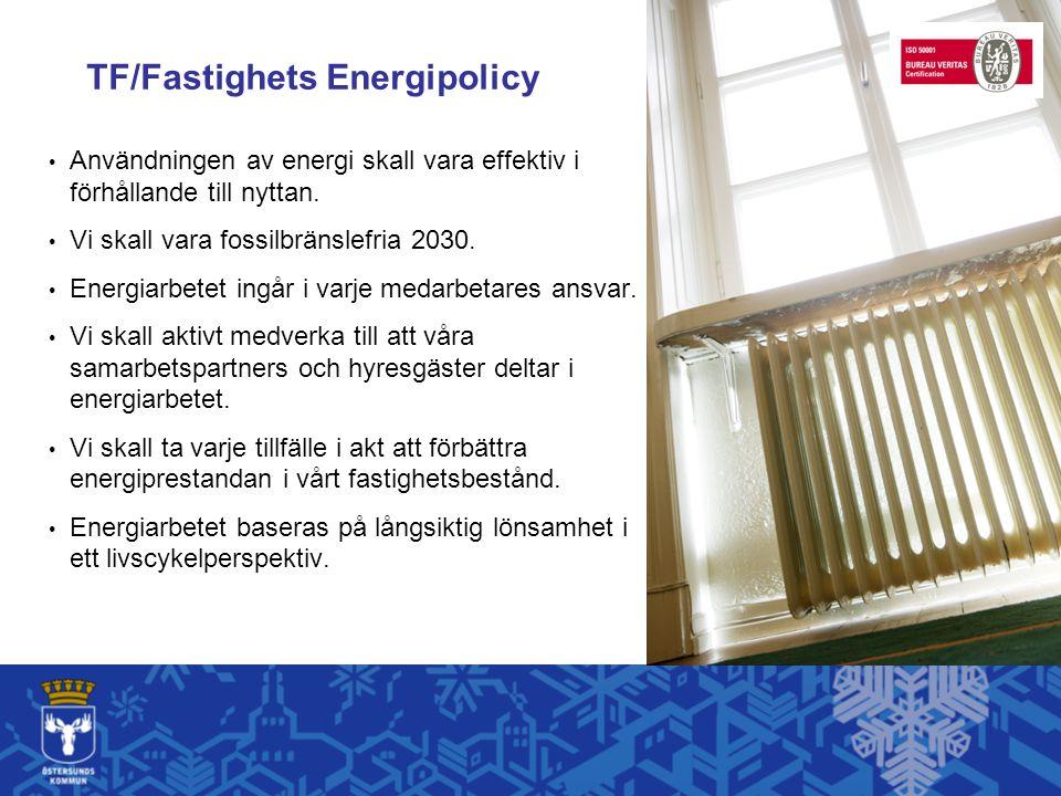 TF/Fastighets Energipolicy Användningen av energi skall vara effektiv i förhållande till nyttan. Vi skall vara fossilbränslefria 2030. Energiarbetet i