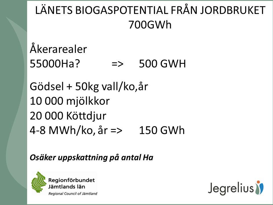 LÄNETS BIOGASPOTENTIAL FRÅN JORDBRUKET 700GWh Åkerarealer 55000Ha?=>500 GWH Gödsel + 50kg vall/ko,år 10 000 mjölkkor 20 000 Köttdjur 4-8 MWh/ko, år =>