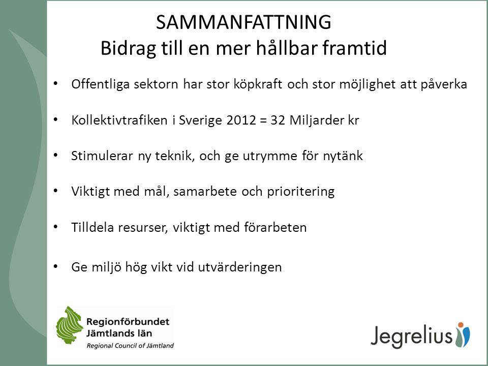 SAMMANFATTNING Bidrag till en mer hållbar framtid Offentliga sektorn har stor köpkraft och stor möjlighet att påverka Kollektivtrafiken i Sverige 2012