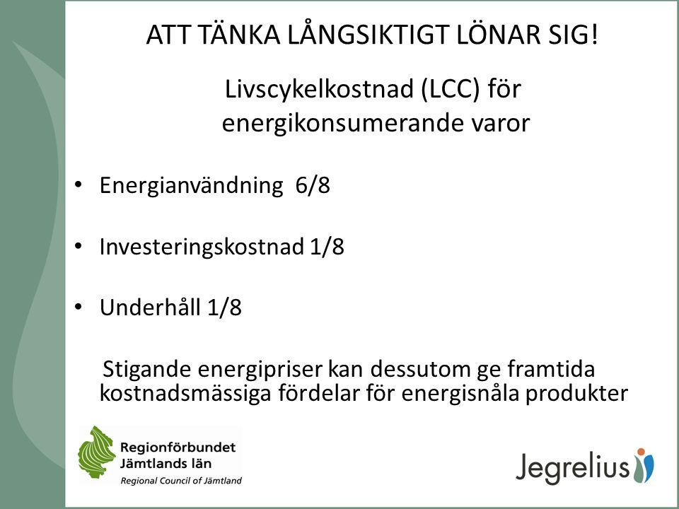 ATT TÄNKA LÅNGSIKTIGT LÖNAR SIG! Livscykelkostnad ( LCC) för energikonsumerande varor Energianvändning 6/8 Investeringskostnad 1/8 Underhåll 1/8 Stiga