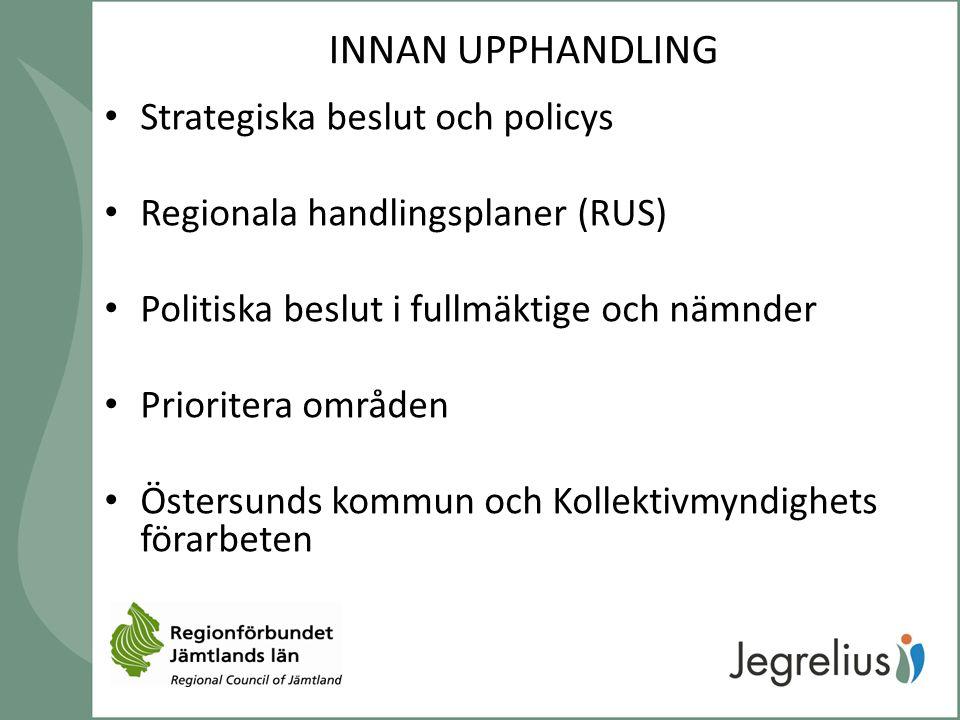 INNAN UPPHANDLING Strategiska beslut och policys Regionala handlingsplaner (RUS) Politiska beslut i fullmäktige och nämnder Prioritera områden Östersu