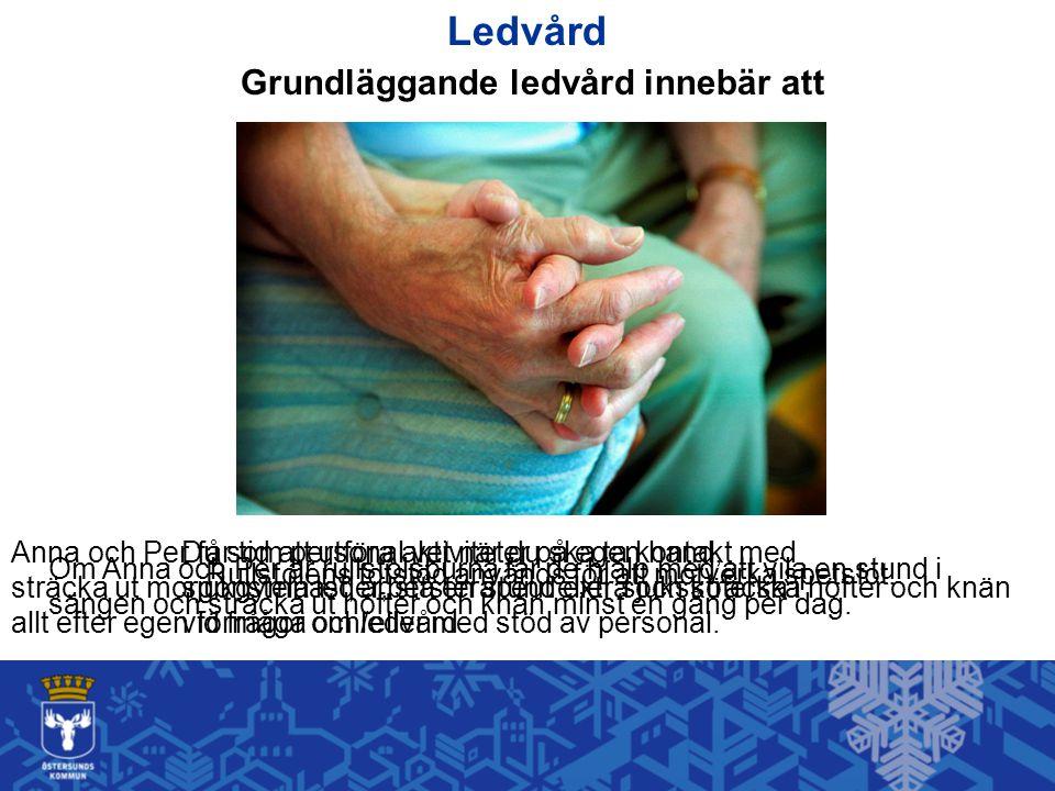 Ledvård Grundläggande ledvård innebär att Anna och Per får tid att utföra aktiviteter på egen hand, sträcka ut morgonstela leder, stå en stund extra o