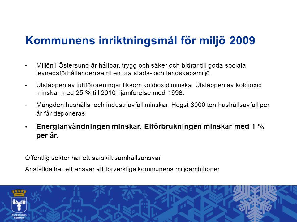Kommunens inriktningsmål för miljö 2009 Miljön i Östersund är hållbar, trygg och säker och bidrar till goda sociala levnadsförhållanden samt en bra stads- och landskapsmiljö.