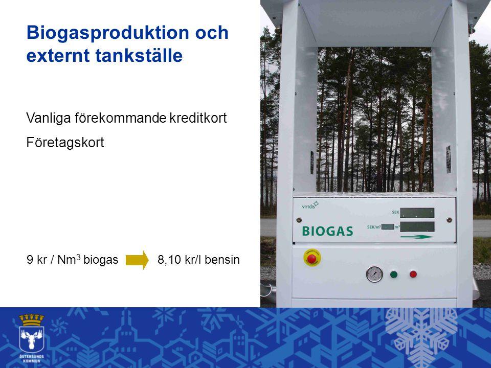 9 kr / Nm 3 biogas8,10 kr/l bensin Vanliga förekommande kreditkort Företagskort Biogasproduktion och externt tankställe