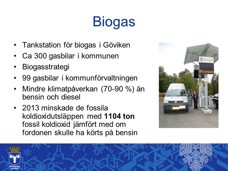 Biogas Tankstation för biogas i Göviken Ca 300 gasbilar i kommunen Biogasstrategi 99 gasbilar i kommunförvaltningen Mindre klimatpåverkan (70-90 %) än