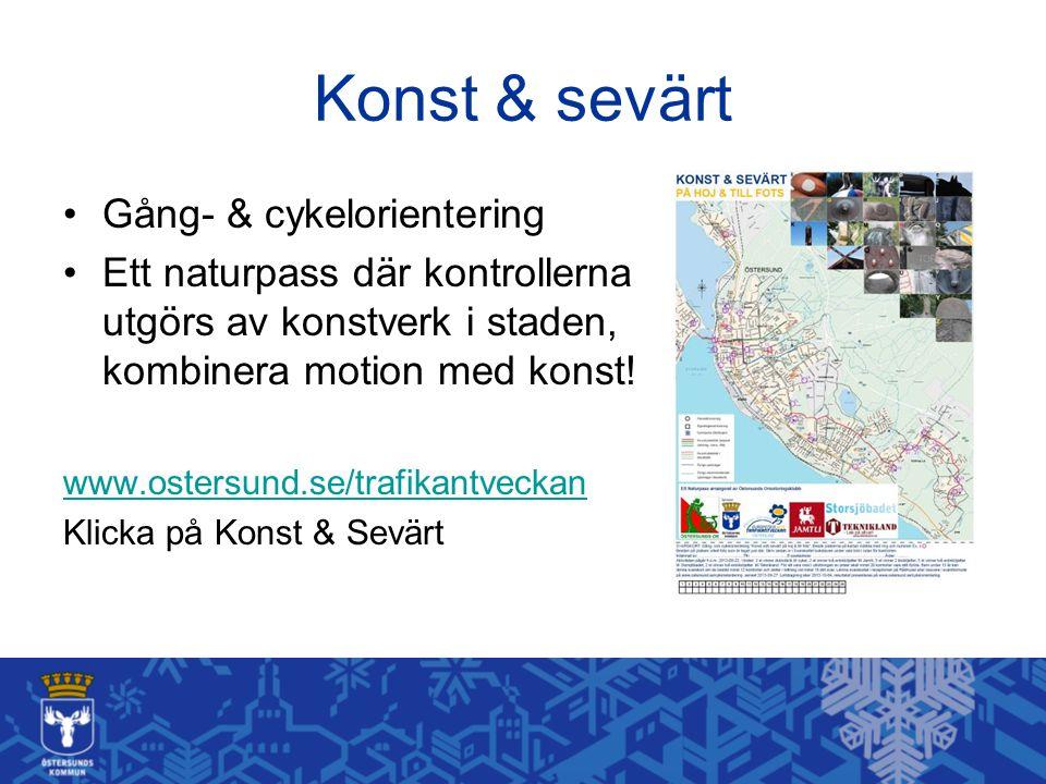 Konst & sevärt Gång- & cykelorientering Ett naturpass där kontrollerna utgörs av konstverk i staden, kombinera motion med konst! www.ostersund.se/traf