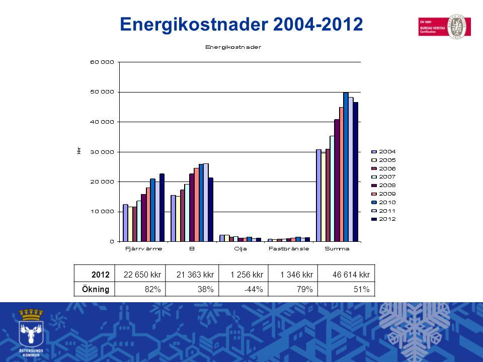 201222 650 kkr21 363 kkr1 256 kkr1 346 kkr46 614 kkr Ökning82%38%-44%79%51% Energikostnader 2004-2012