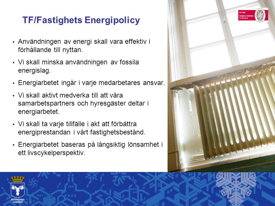 TF/Fastighets Energipolicy Användningen av energi skall vara effektiv i förhållande till nyttan.