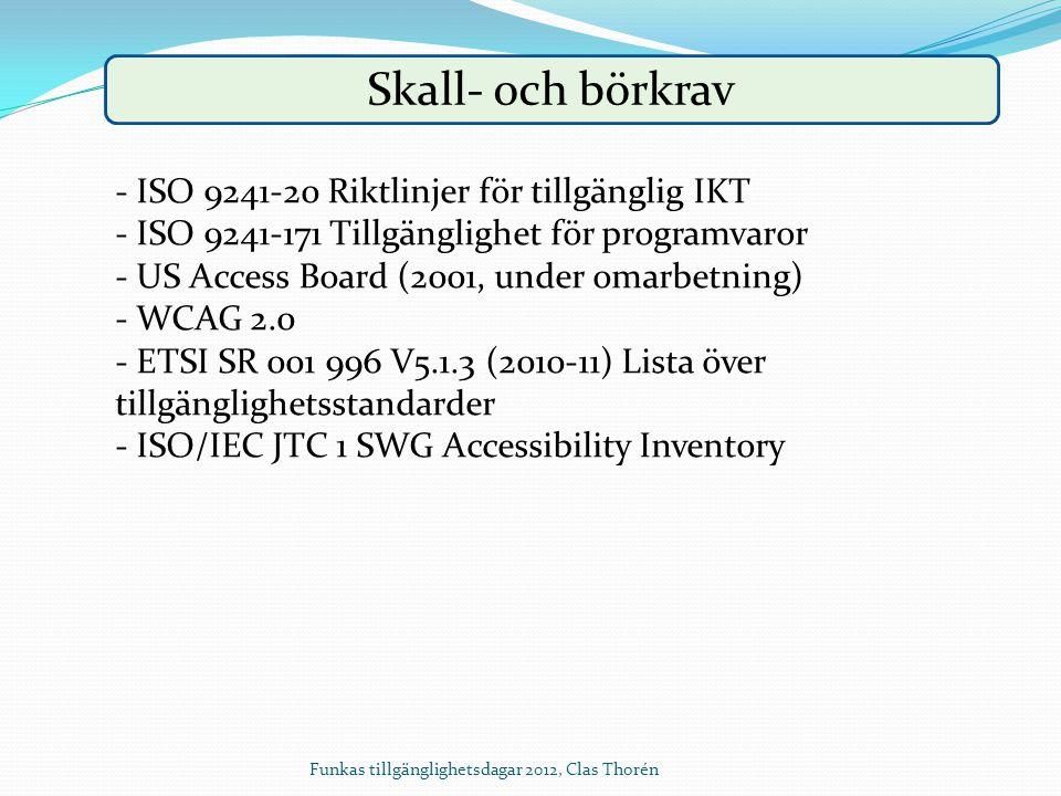 Skall- och börkrav - ISO 9241-20 Riktlinjer för tillgänglig IKT - ISO 9241-171 Tillgänglighet för programvaror - US Access Board (2001, under omarbetn