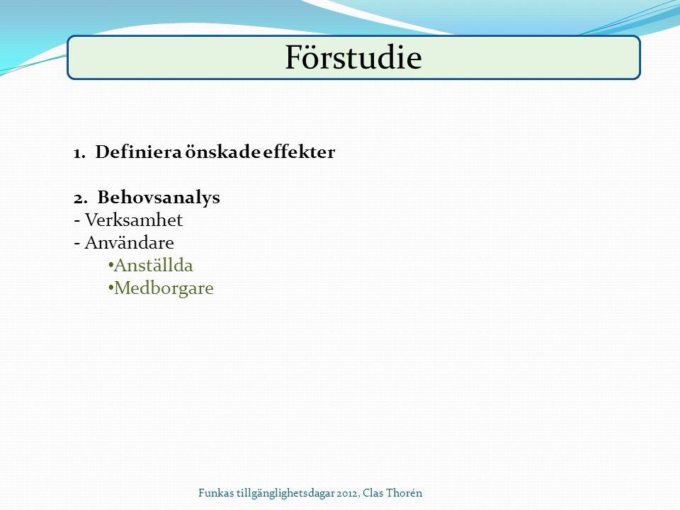 Funkas tillgänglighetsdagar 2012, Clas Thorén Förstudie 1. Definiera önskade effekter 2. Behovsanalys - Verksamhet - Användare Anställda Medborgare