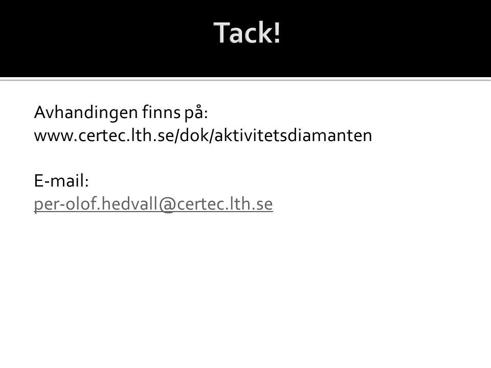 Avhandingen finns på: www.certec.lth.se/dok/aktivitetsdiamanten E-mail: per-olof.hedvall@certec.lth.se