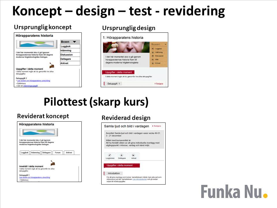 Koncept – design – test - revidering Ursprunglig koncept Ursprunglig design Reviderat koncept Reviderad design Pilottest (skarp kurs)