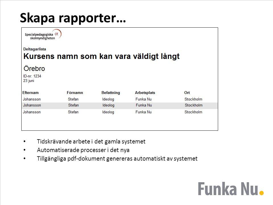 Skapa rapporter… Tidskrävande arbete i det gamla systemet Automatiserade processer i det nya Tillgängliga pdf-dokument genereras automatiskt av system