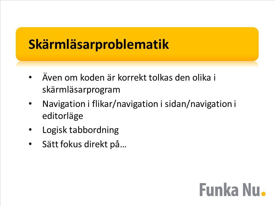 Skärmläsarproblematik Även om koden är korrekt tolkas den olika i skärmläsarprogram Navigation i flikar/navigation i sidan/navigation i editorläge Log