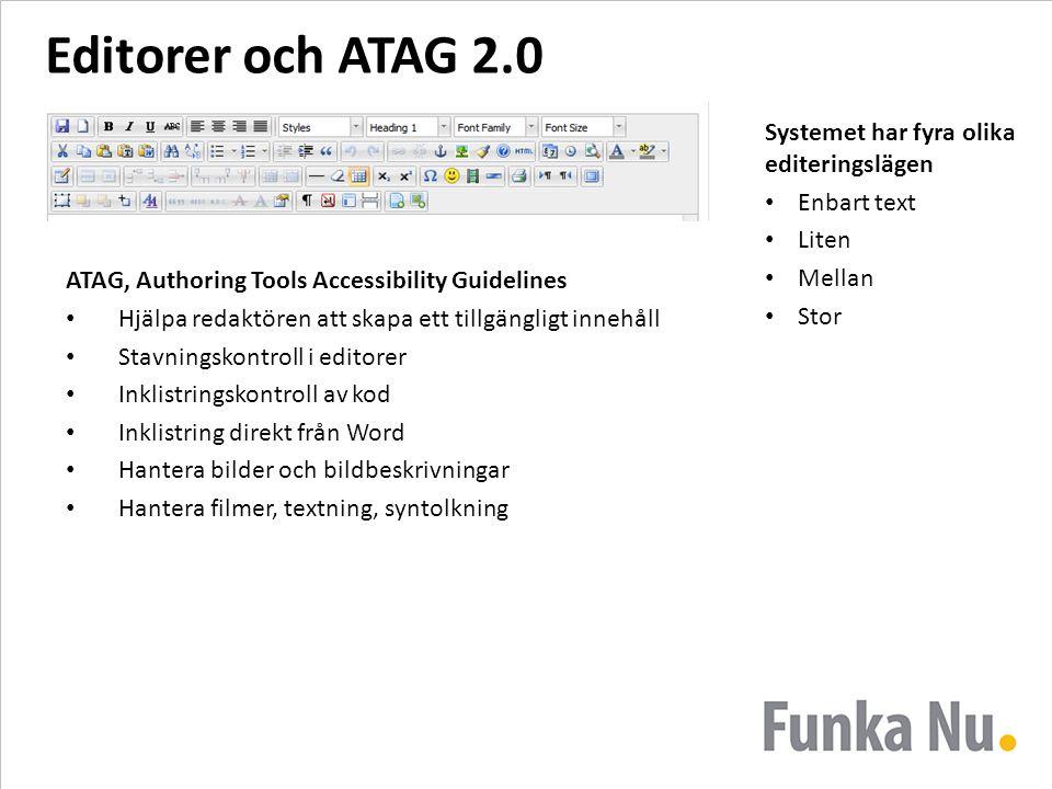 Editorer och ATAG 2.0 ATAG, Authoring Tools Accessibility Guidelines Hjälpa redaktören att skapa ett tillgängligt innehåll Stavningskontroll i editore