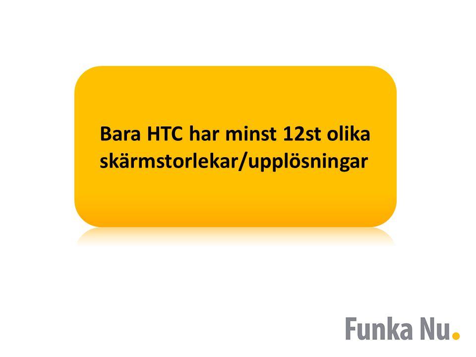 Bara HTC har minst 12st olika skärmstorlekar/upplösningar